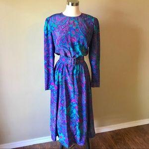 Vintage Malia Purple Paisley Secretary Midi Dress